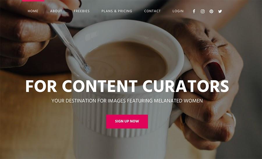 La página de iniciode createherstock.com