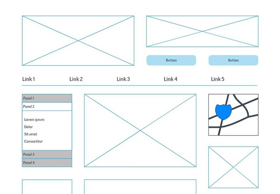 Un bosquejo básico para diseñar un sitio web.