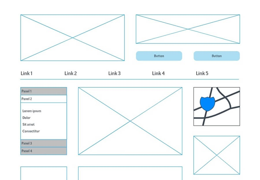 A basic wireframe for designing a website.