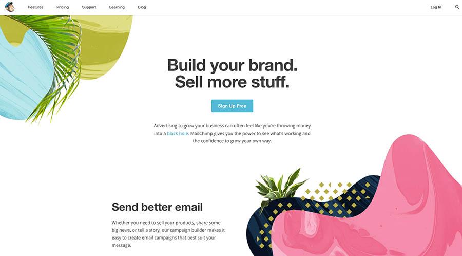 La página de inicio de Mailchimp.com