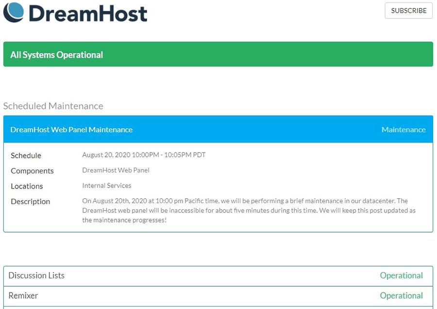 Página de Status de DreamHost.