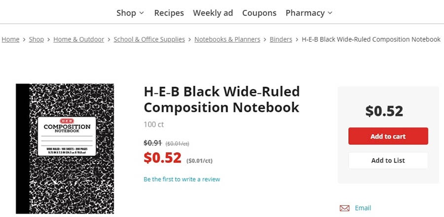 H-E-B's website, using a navigation bar and breadcrumbs.