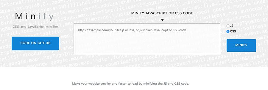 Página Minify