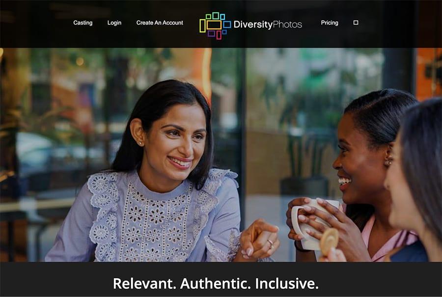 La página de inicio de diversityphotos.com.