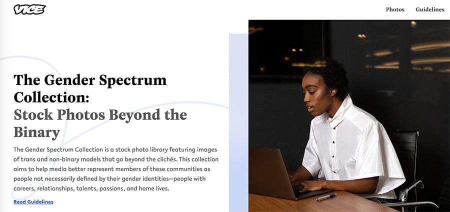 La página de inicio de genderphotos.vice.com