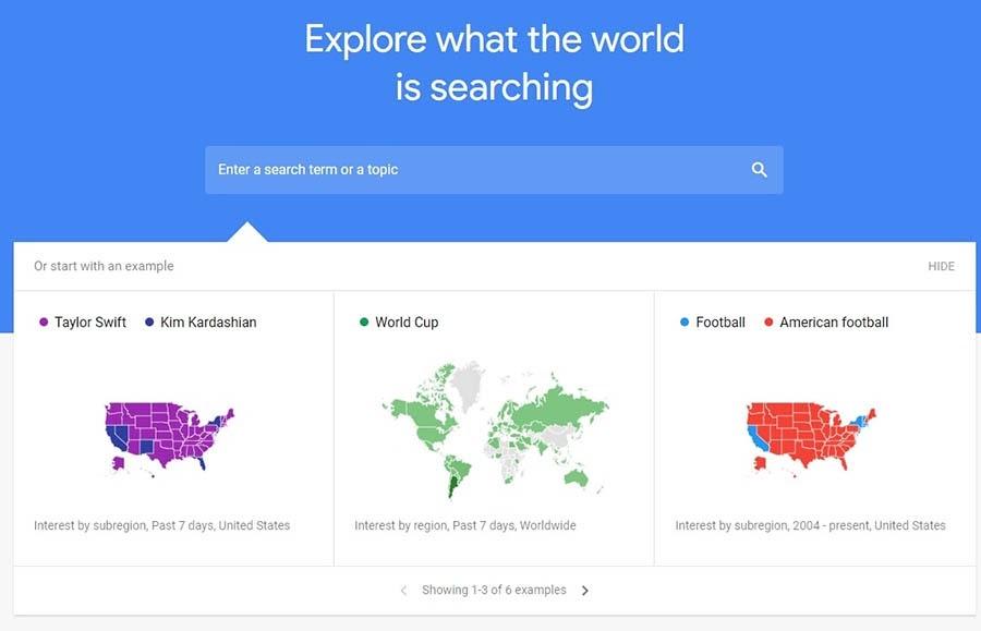 La página de Google Trends.