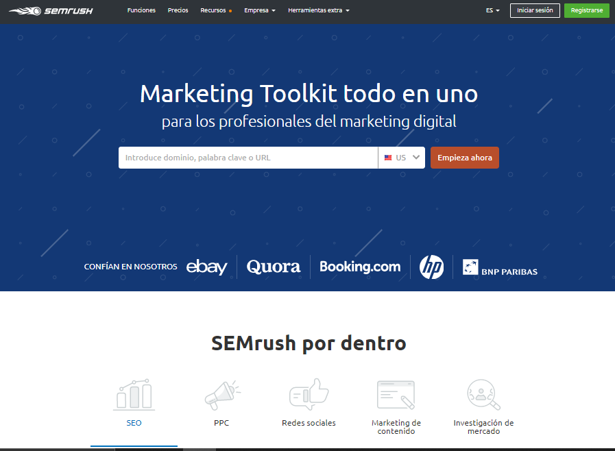 Sitio web de SEMRush.