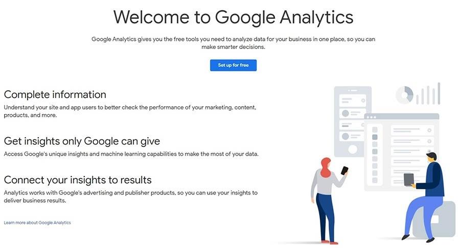 El sitio web de Google Analytics.