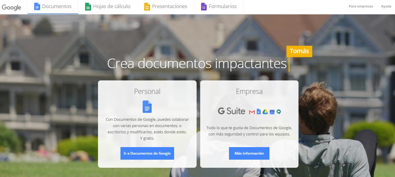 La página inicial de Google Docs.