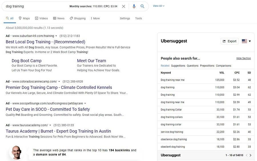 La extensión de Chrome Ubersuggest.