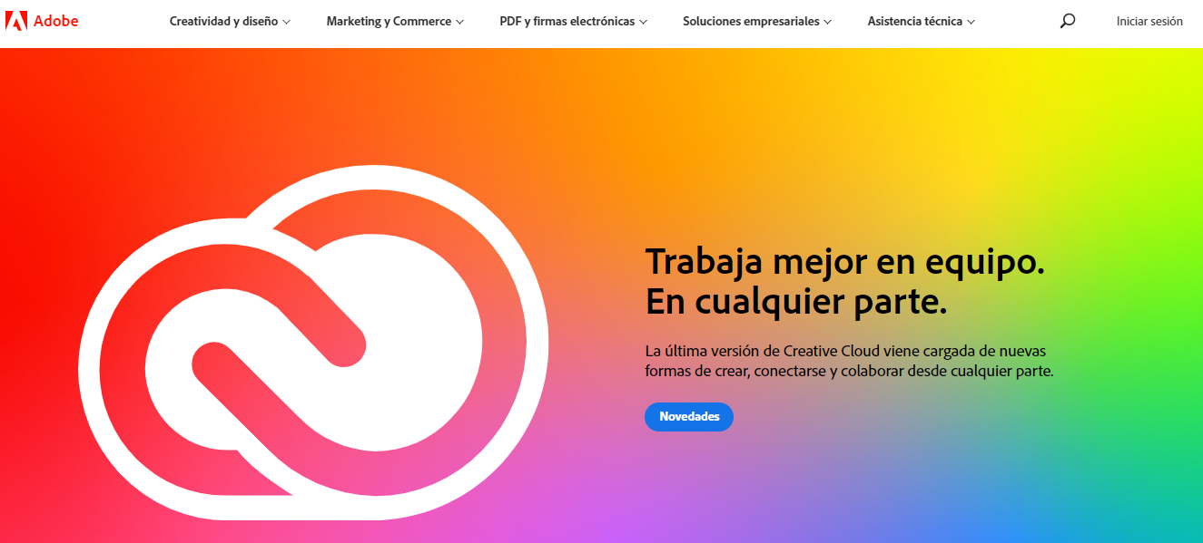 El sitio web de Adobe Photoshop.