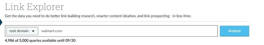 Función de búsqueda de competidores Link Explorer.