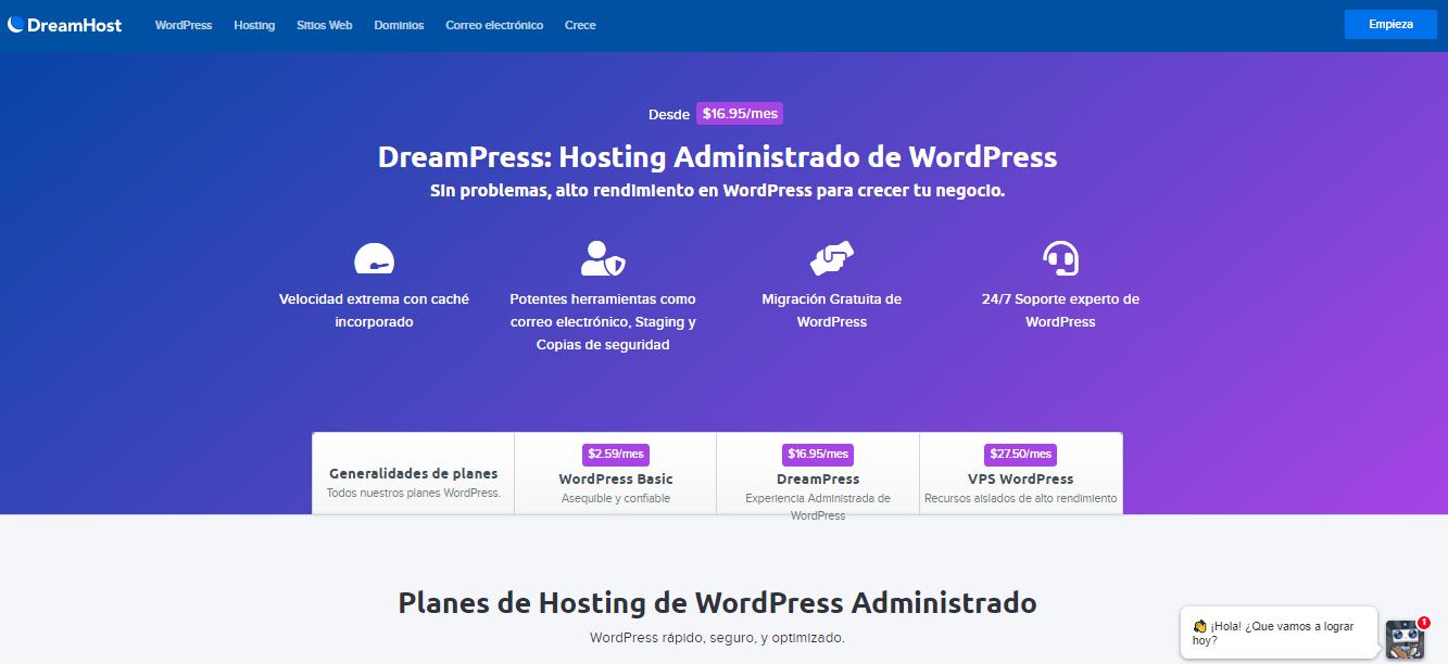 Alojamiento DreamHost de WordPress administrado.