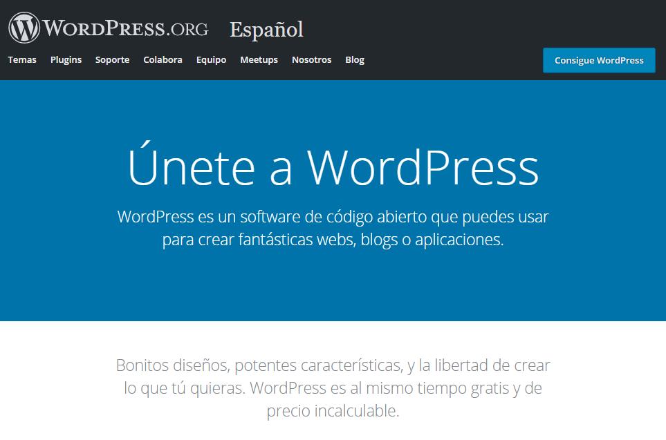 La página de inicio de WordPress.org.