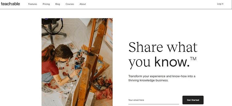 La página de inicio de Teachable.