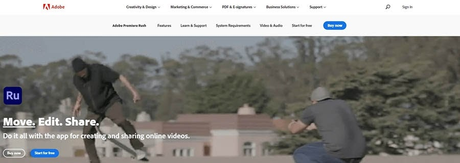 Sitio web de Adobe Rush.