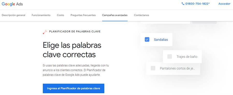 La página principal de Google Keyword Planner.
