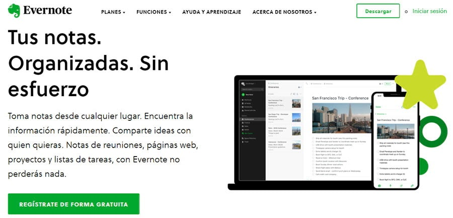 El sitio web de Evernote.