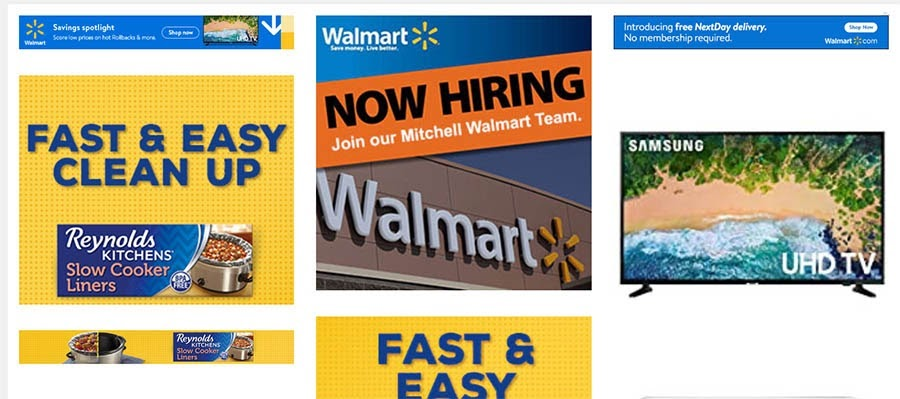 Ejemplo de anuncios de walmart.com encontrados a través de Sistrix.