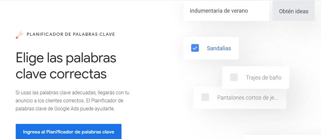 La página de inicio del planificador de palabras de Google.