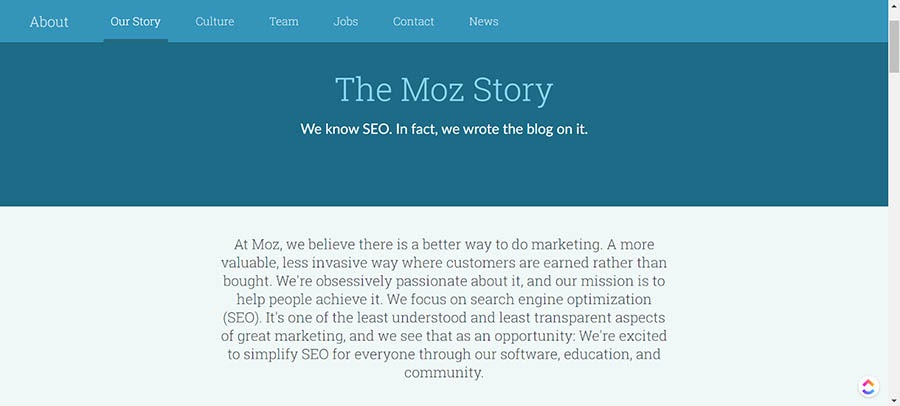 The Moz About Us page.