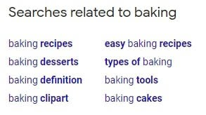 Google searches related to baking
