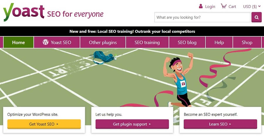 The Yoast SEO website homepage.
