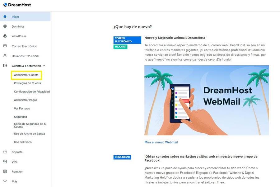 Administrar tu cuenta de G Suite desde el panel de DreamHost.