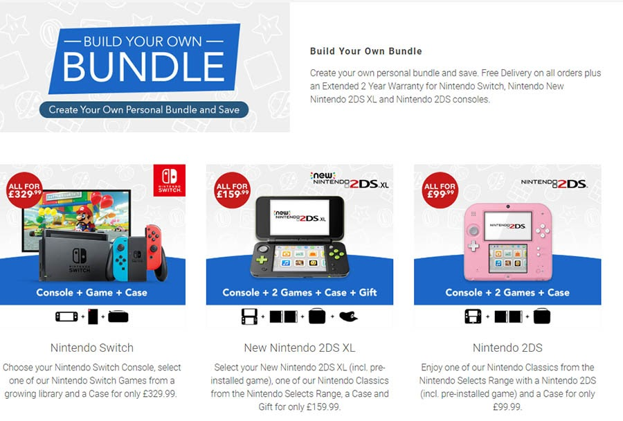 "Example of ""Build Your Own Bundle"" of Nintendo products."