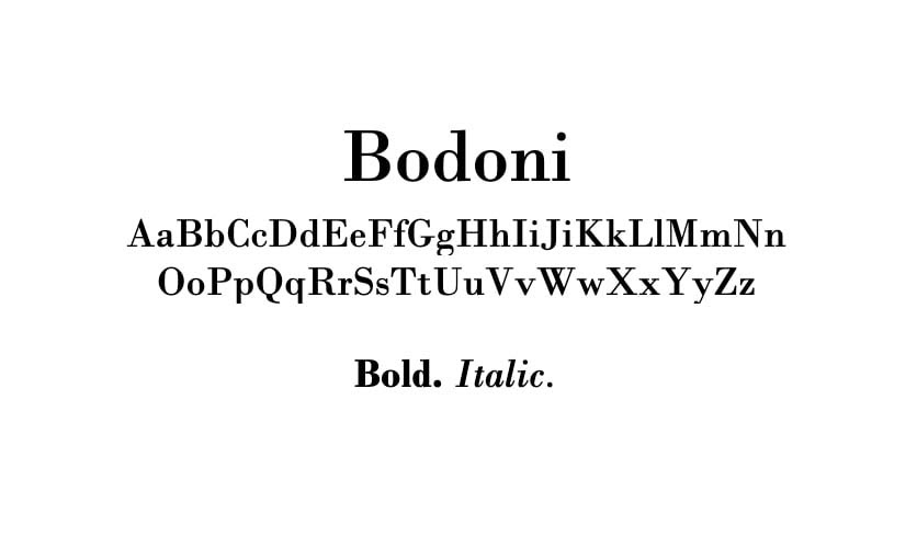 The Bodoni font.