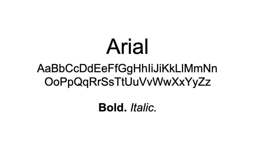The Arial font.