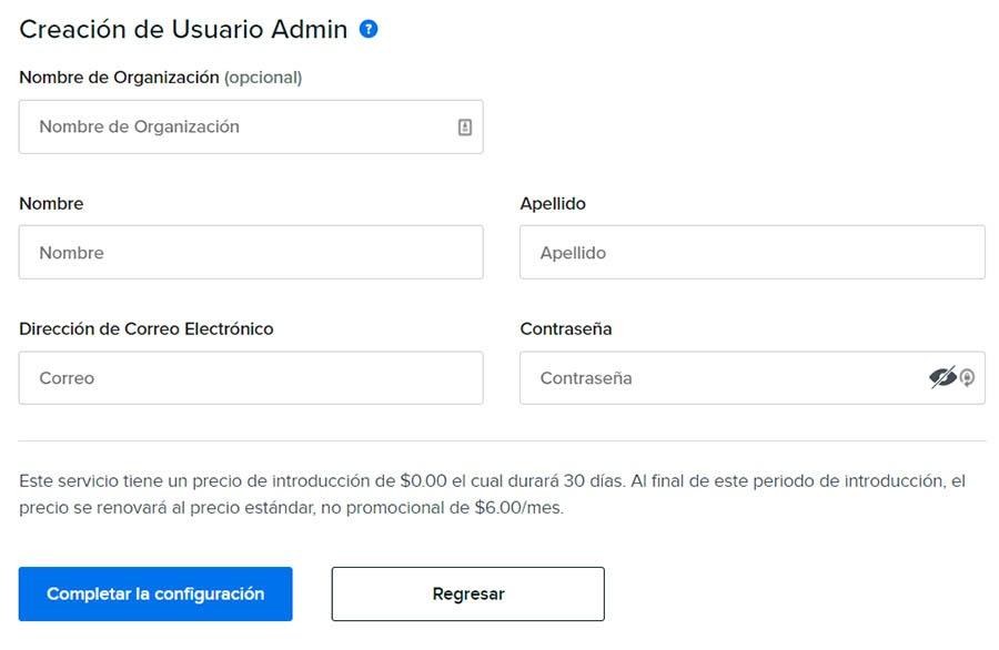Ingresando la información de admin que quieres usar con G Suite.