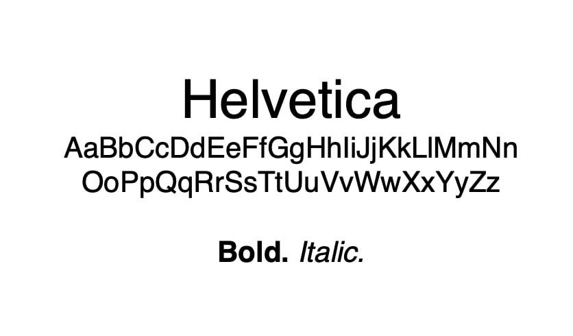 The Helvetica font.