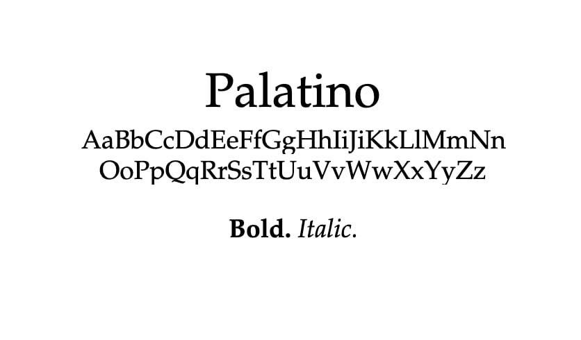 The Palatino font.
