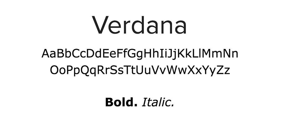 Verdana font.