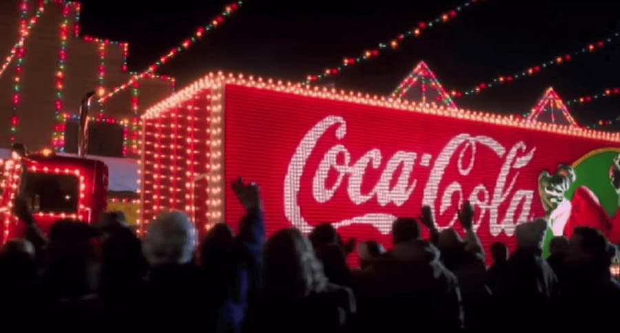 Screenshot from the Holidays Are Coming advertisement by Coca-Cola.
