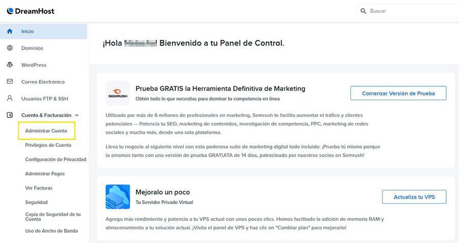 Administrando tu cuenta Google Workspace desde el panel de DreamHost.