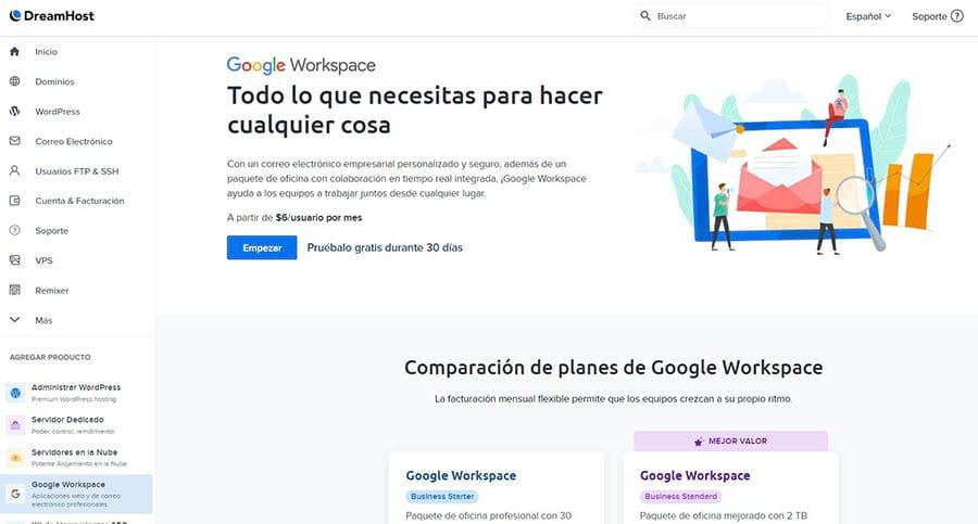 Empezando con Google Workspace en DreamHost.