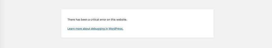 A WordPress syntax error message.
