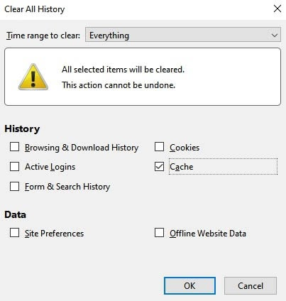 Options for clearing browser data in Firefox.