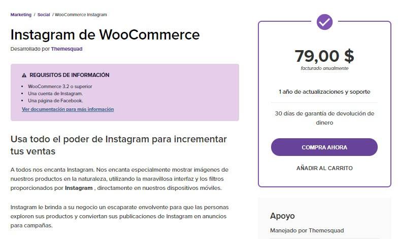 La extensión de WooCommerce Instagram.