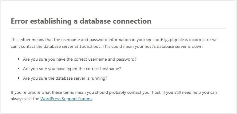 Un mensaje de error al establecer una conexión a la base de datos.