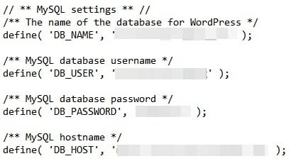 Checking MySQL settings in the wpconfig.php file.
