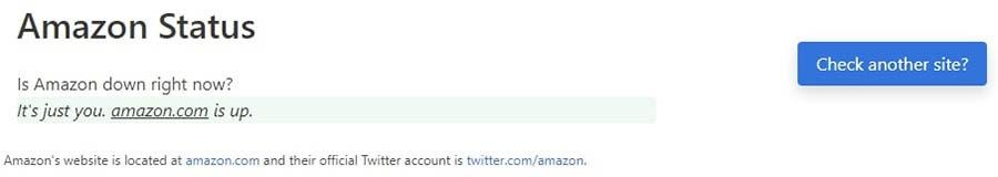 Estado de Amazon.com en Down for Everyone or Just Me.