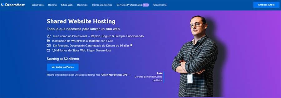 Página de DreamHost de Shared WordPress Hosting.