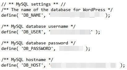 Revisando la configuración MySQL en el archivo wpconfig.php.