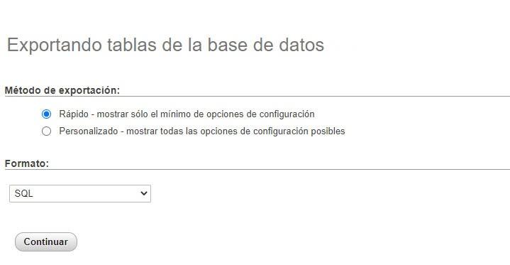 Opciones para descargar una base de datos de WordPress usando phpMyAdmin.
