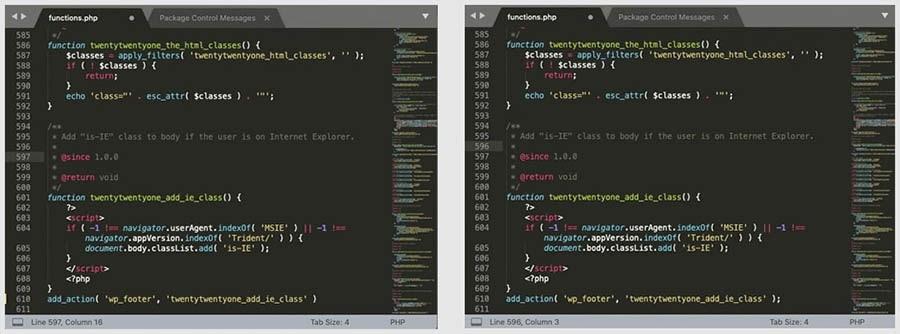 Errores de sintaxis mostrados en un editor de código.