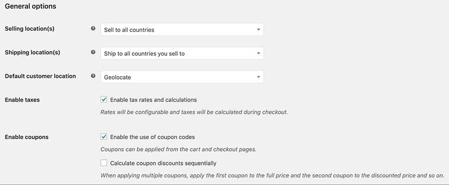 La opción Enable taxes en WooCommerce.