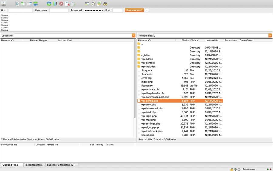 A WordPress site directory via SFTP.